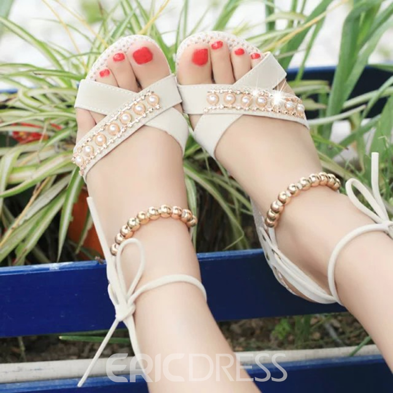 Ericdress Beads Decorated Platform Lace-Up Wedge Sandals