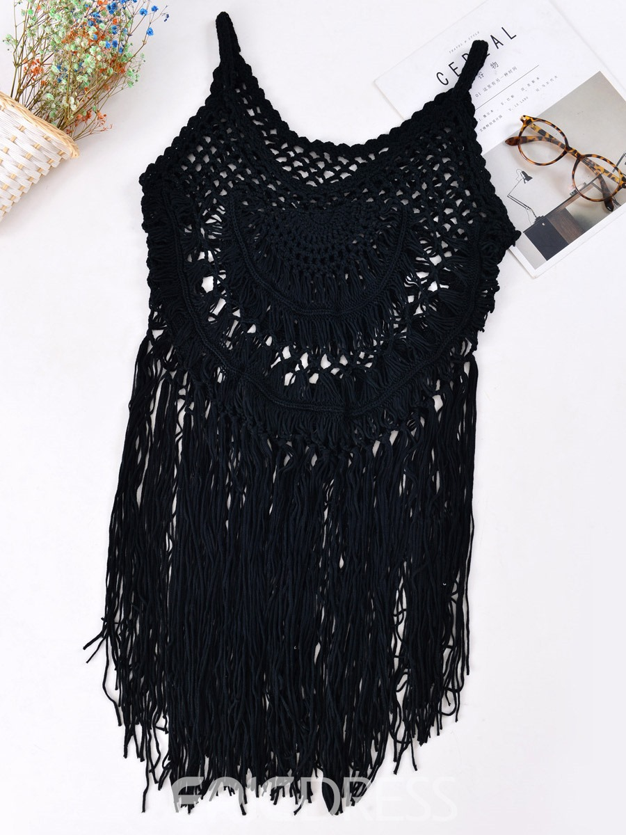 Ericdress Hollow Tassel Hand Woven Beach Cover-Ups