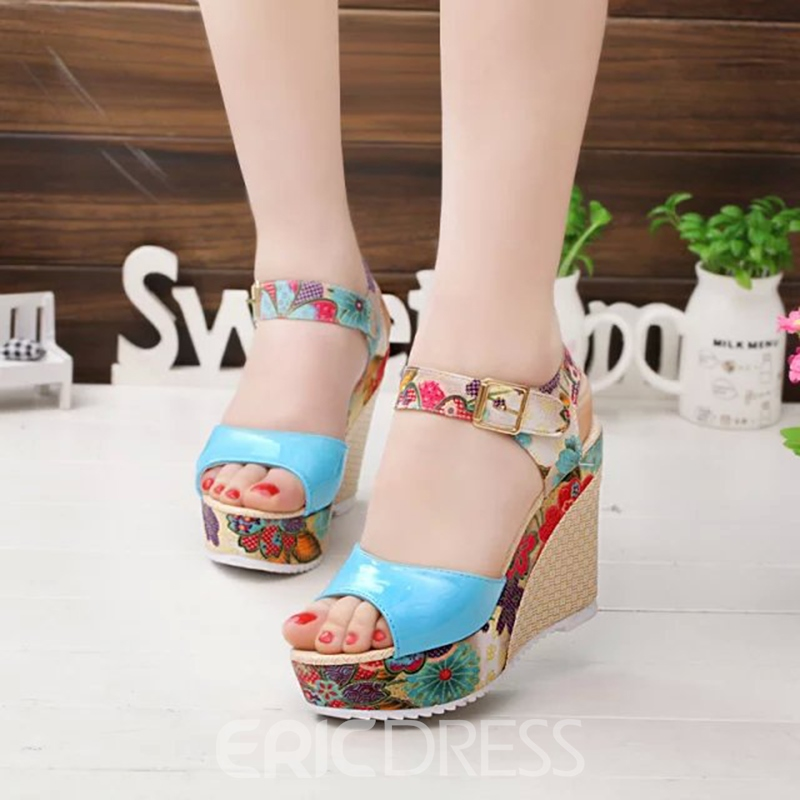 Ericdress Floral Open Toe Ankle Strap Wedge Sandals