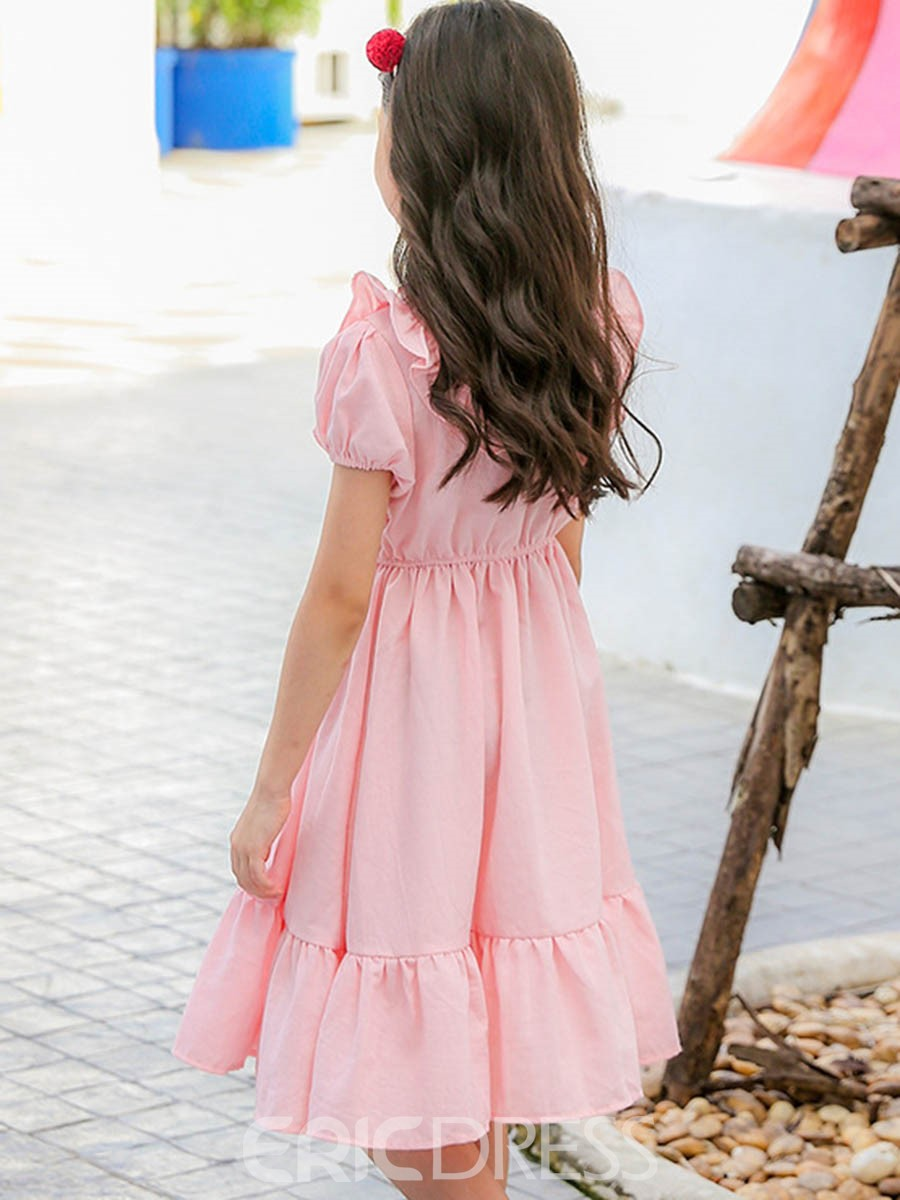 Ericdress Ruffled Collar Lantern Sleeve Girl's Pullover Cotton Dress