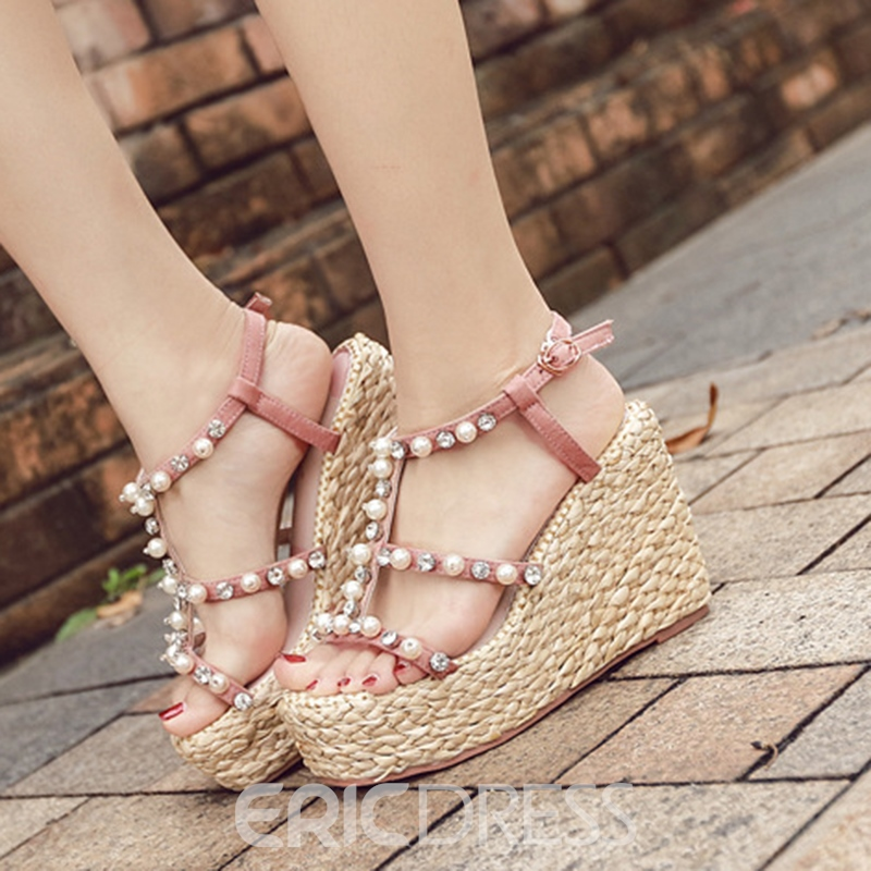 Ericdress Beads Decorated Open Toe Wedge Sandals