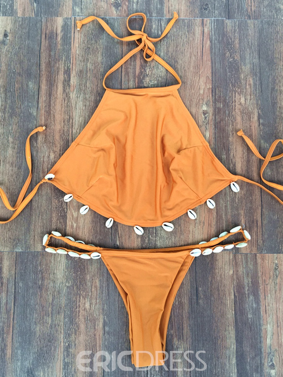 Ericdress Plain Lace-Up Halter 2-Pcs Bikini Suits