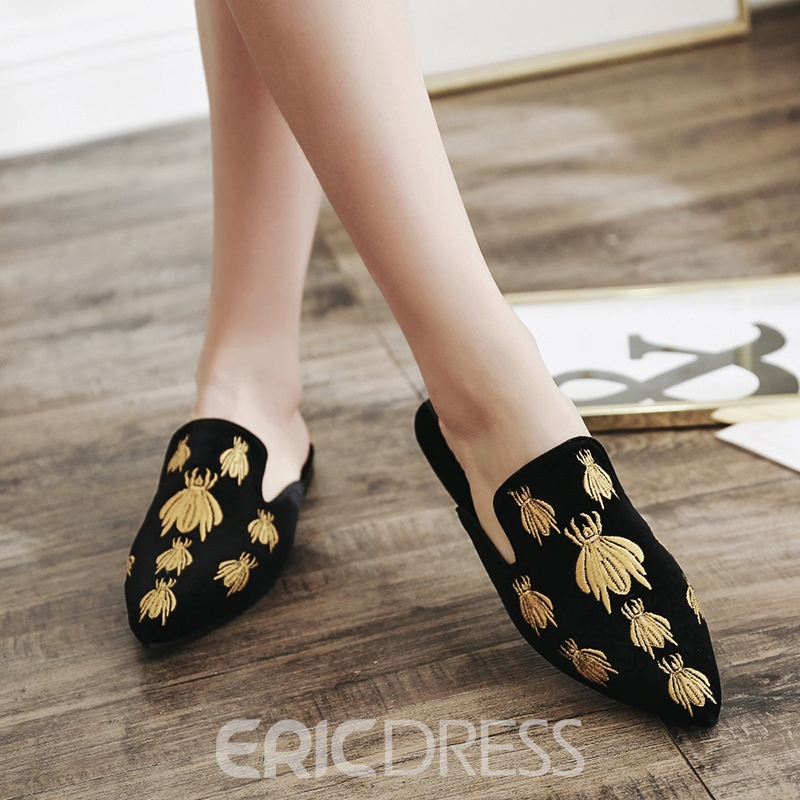 Ericdress Embroidery Closed Toe Stripe Women's Mules Shoes