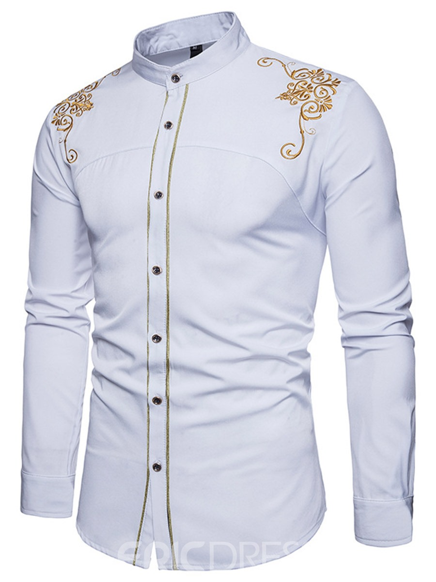 Ericdress Golden Embroidery Plain Men's Single Breasted Shirt