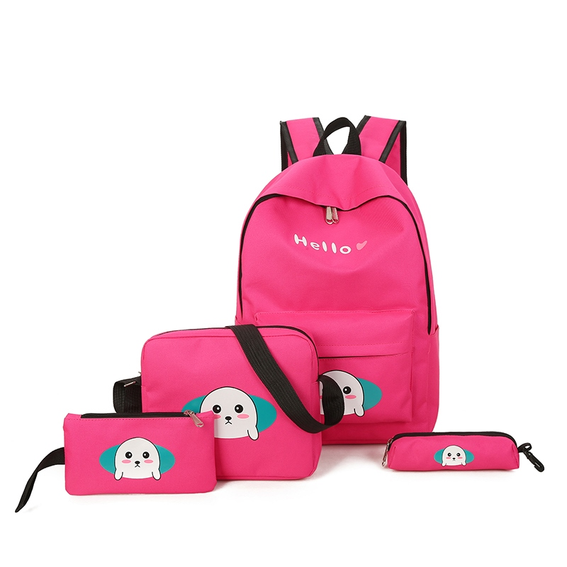 Ericdress Lovely Cartoon Pattern Canvas Backpack (Four Bags Set)