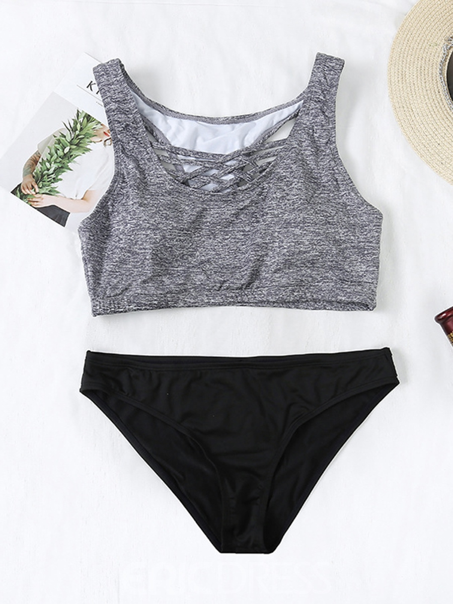 Ericdress Color Block Hollow Tankini Suits