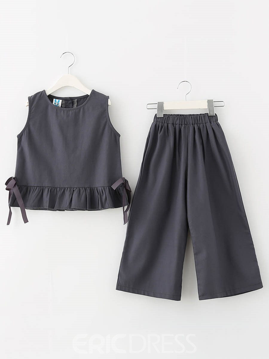 Ericdress Ruffles Bowknot Girl's Sleeveless Suit Vest Pants
