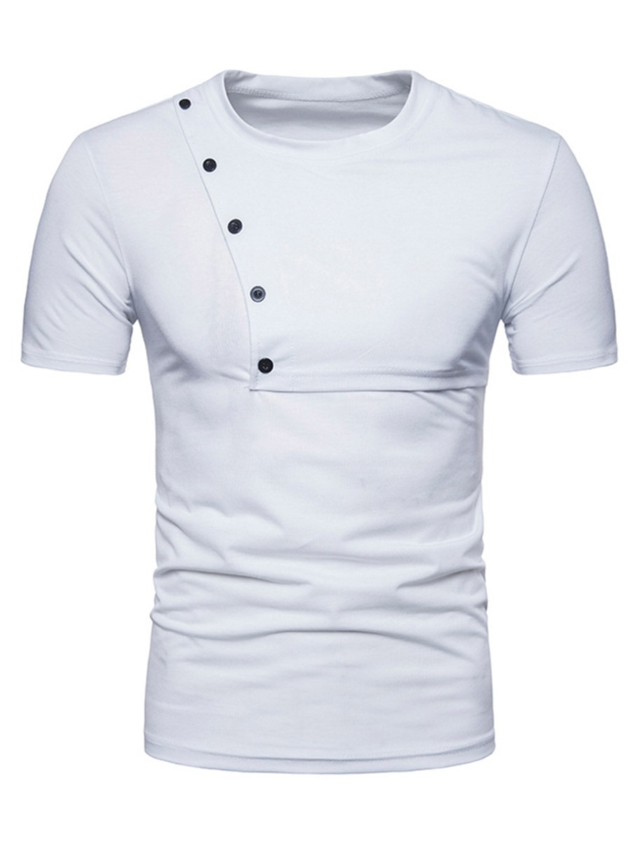 Ericdress Plain Scoop Mens Short Sleeve Button Desinged Tee Shirt