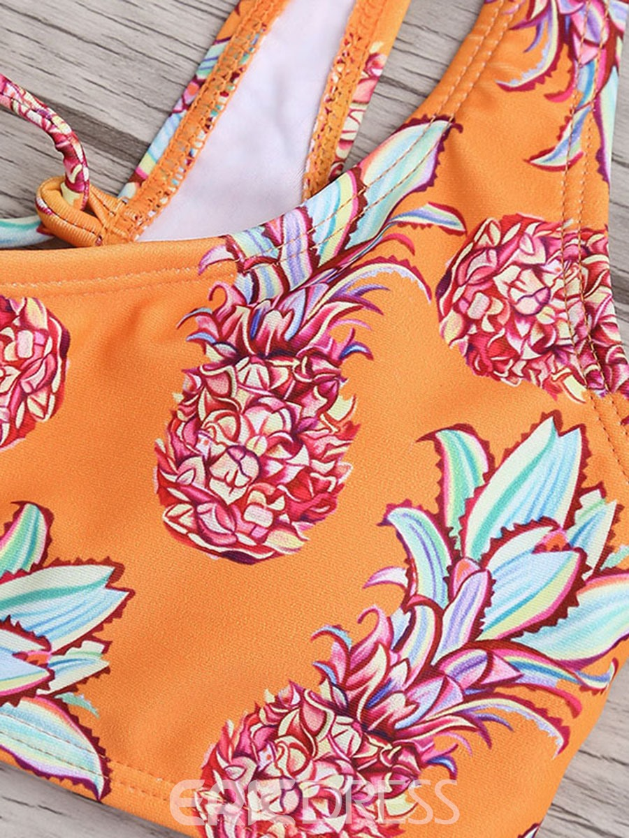 Ericdress Bowknot Tie Shouldrer Floral Bikini Bathing Suits