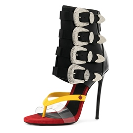 Ericdress Buckle Color Block High Shaft Stiletto Sandals