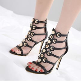 Ericdress Rivet Open Toe Zipper Stiletto Sandals
