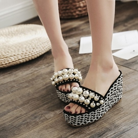 Ericdress Beads Decorated Slip-On Platform Wedge Heel Mules Shoes