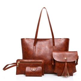 Ericdress Plain PU Women Handbag ( 4 Bag Set)