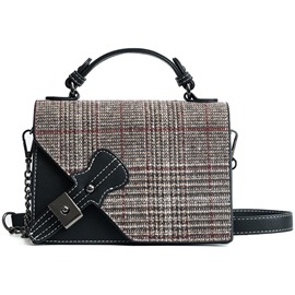 Ericdress Wool Blends Plaid Crossbody Bag
