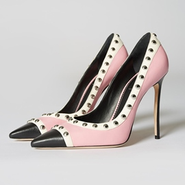 Ericdress Trendy Rivet Color Block Pointed Toe Stiletto Heel Pumps