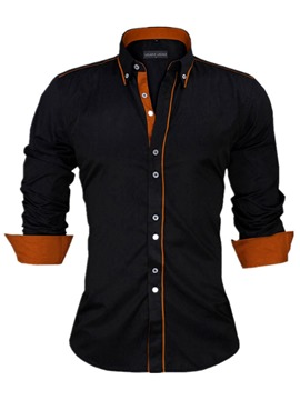 Ericdress Lapel Color Block Long Sleeve Button Down Men's Shirt