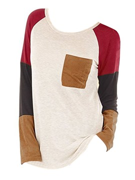 Ericdress Loose Color Block Patchwork Tee Shirt