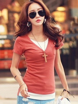Ericdress Double-Layer Patchwork Short Sleeve Tee Shirt