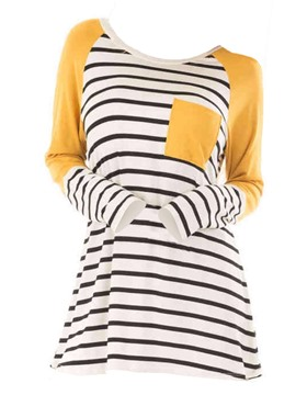 Ericdress Stripe Mid-Length Patchwork Tee Shirt