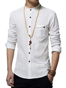 Ericdress Long Sleeve Stand Collar Single-Breasted Men's Shirt