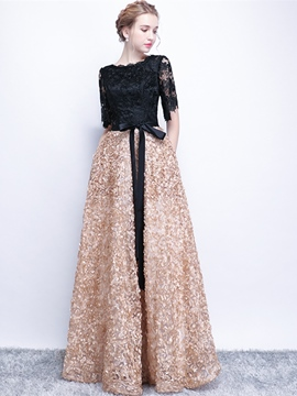 Ericdress A Line Half Sleeve Contrast Color Evening Dress