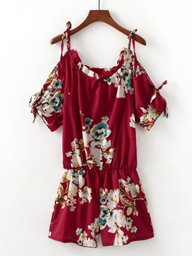 Ericdress Loose Floral Print Strap Women's Rompers