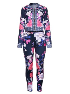 Ericdress Floral Jacket and Pants Women's Two Piece Set