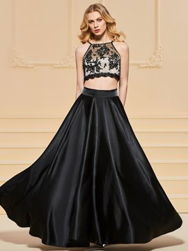 Ericdress A Line Halter Applique Two Pieces Black Prom Dress