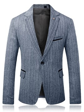 Ericdress One Button Plain Notched Lapel Mens Slim Casual Blazer