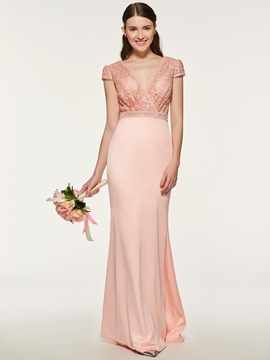 Ericdress Sheath Long Lace Bridesmaid Dress