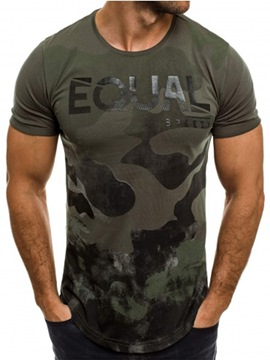 Ericdress Camouflage Patchwork Color Block Mens Short Sleeve T Shirt