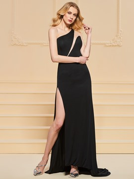 Ericdress One Shoulder Sheath Split-Front Black Evening Dress