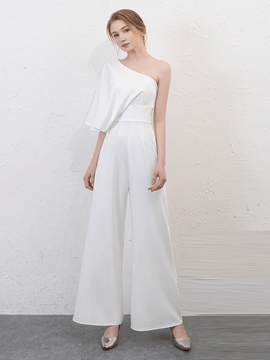 Ericdress One Shoulder Floor Length Long Prom Jumpsuit