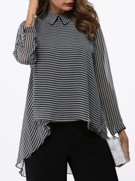 Ericdress Loose Stripe Asymmetric Long Sleeve Blouse