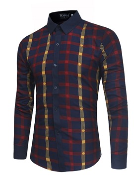 Ericdress Plaid Lapel Patchwork Mens Slim Shirt