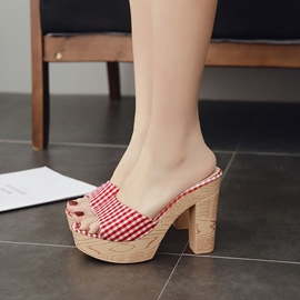 Ericdress Plaid Platform Slip-On Chunky Heel Mules Shoes
