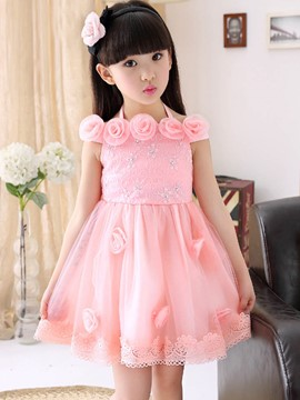 Ericdress Slash Neck Appliques Floral Bead Bowknot Girl's Mesh Princess Dress