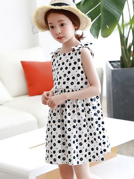 Ericdress Polka Dots Scoop A-Line Bowknot Girl's Sleeveless Dress