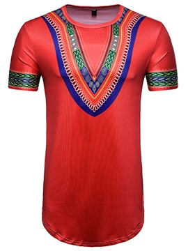 Ericdress Dashiki Mens Short Sleeve Long Length T Shirt
