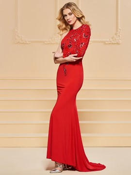 Ericdress One Shoulder Beaded Red Mermaid Evening Dress