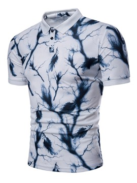 Ericdress Print Button Lapel Mens Short Sleeve Slim T Shirt