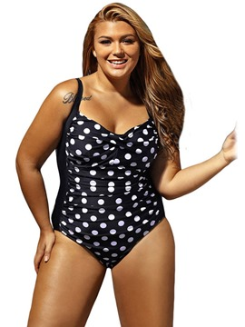 Ericdress Plus Size Polka Dots High Waist Pleated One Piece Swimwear