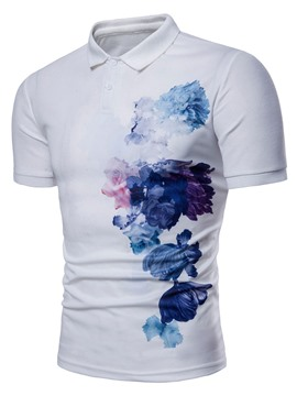 Ericdress Lapel Floral Print Mens Short Sleeve T Shirt