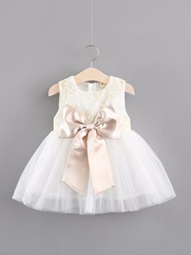 Ericdress Mesh Lace Bowknot Baby Girl's Sleeveless Ball Gown