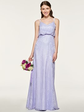 Ericdress Spaghetti Straps A Line Lace Bridesmaid Dress