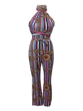 Ericdress Print Slim Wide Leg Women's Jumpsuit