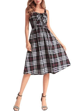 Ericdress Sleeveless Pullover Bowknot Plaid Women's Skater Dress