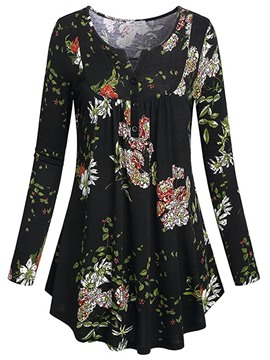 Ericdress Slim Print V-Neck Long Sleeve Blouse