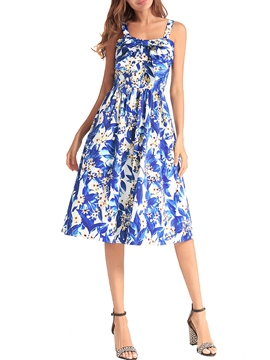 Ericdress Sleeveless Floral Pullover Print Women's Skater Dress