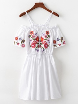 Ericdress Pullover Floral Embroidery Women's Day Dress